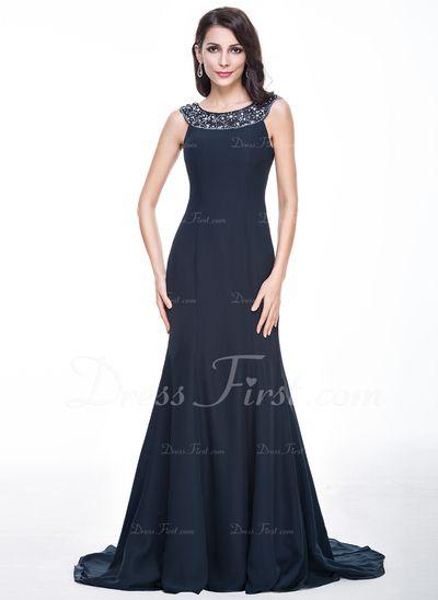 Trompete/Meerjungfrau-Linie U-Ausschnitt Sweep/Pinsel zug Chiffon Abendkleid mit Spitze Perlen verziert Pailletten (017056498) Preis: € 179.86
