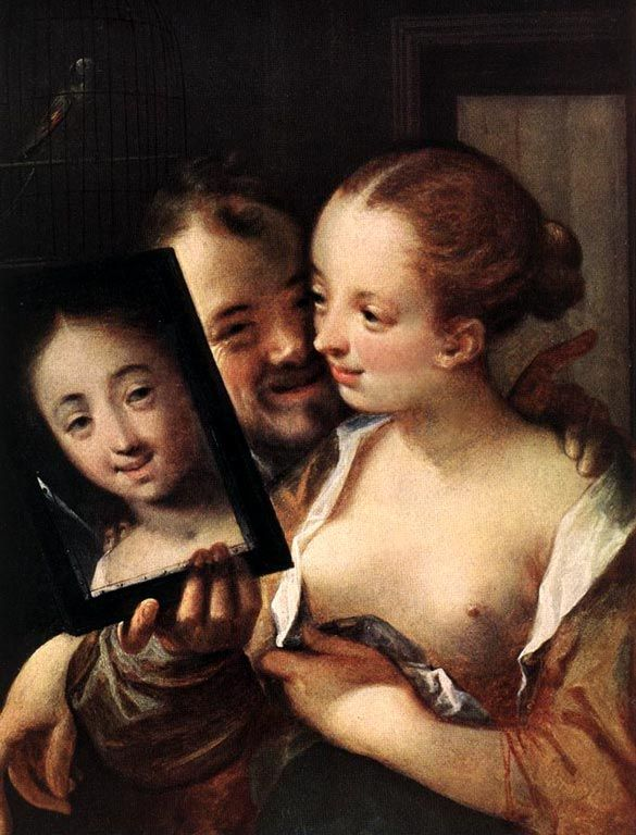 Laughing Couple with a mirror, 1596CreatorAachen, Johann or Hans von (1552-1616)NationalityGermanDescriptionSelf portrait of the artist with his wife, holding a mirror, 1596LocationKunsthistorisches Museum, Vienna, Austria