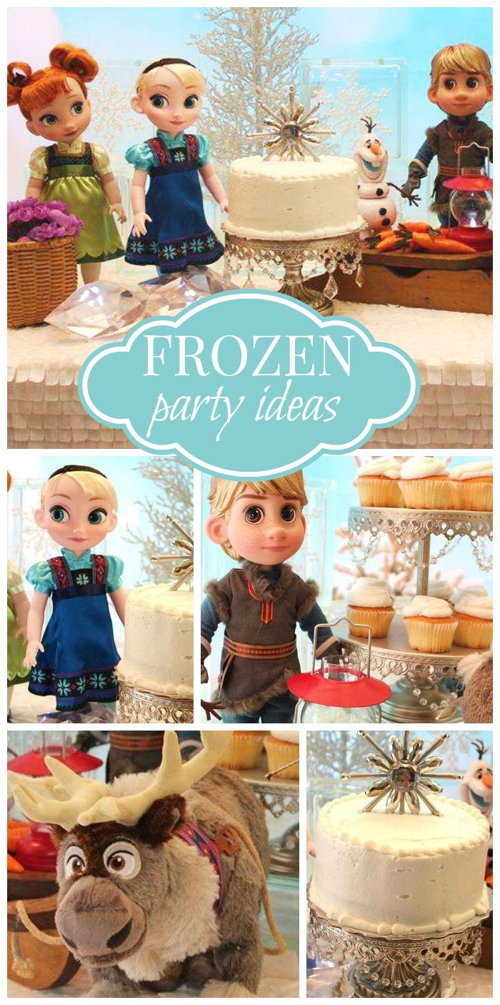 A sweet Frozen girl birthday party with a winter wonderland theme and a fun dessert table!  See more party planning ideas at CatchMyParty.com!