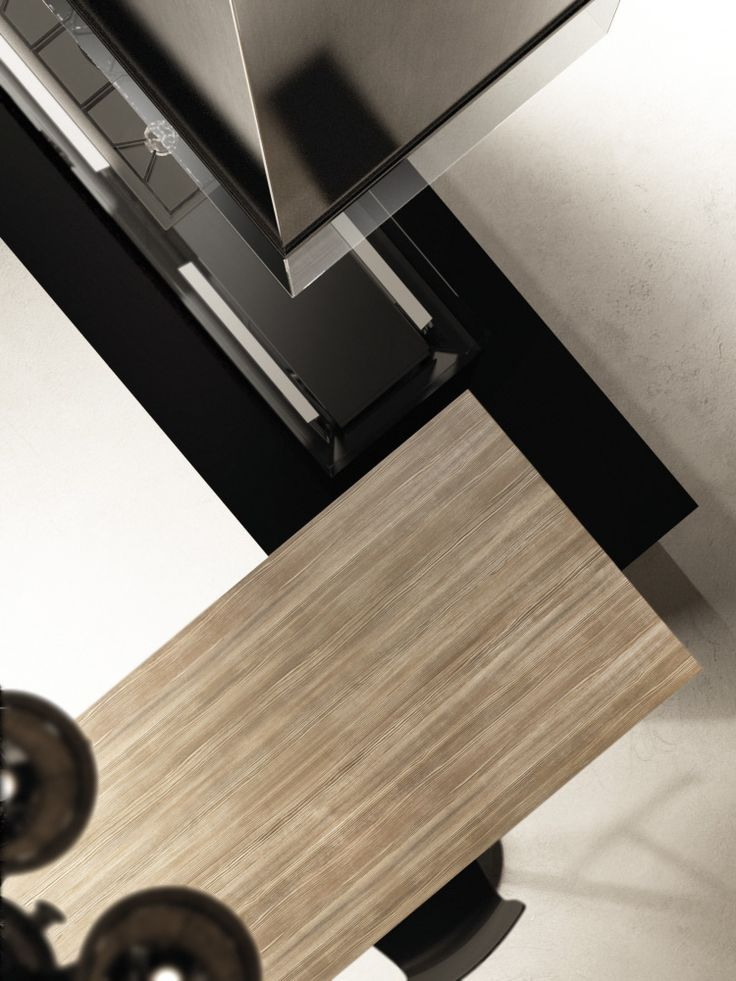 Lacquered glass and brushed mink oak finishes detail.
