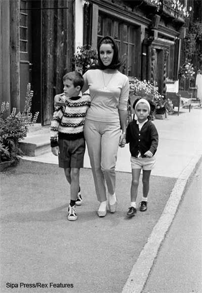 Elizabeth Taylor in Gstaad, July 1962 with daughter Liza Todd (aged five - father Mike Todd) and Christopher Wilding (aged 7 - father Michael Wilding)