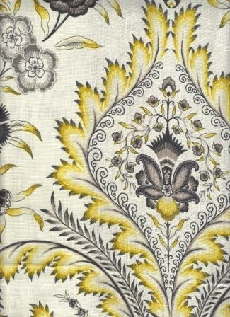 Stunning 100% English Linen medallion and floral pattern on a white background with appointments in yellow, grey, and black