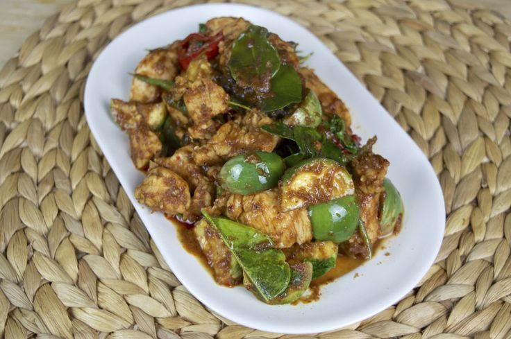 Spicy Thai Eggplant And Chicken Stir Fry Recipe (Pad Ped Gai)