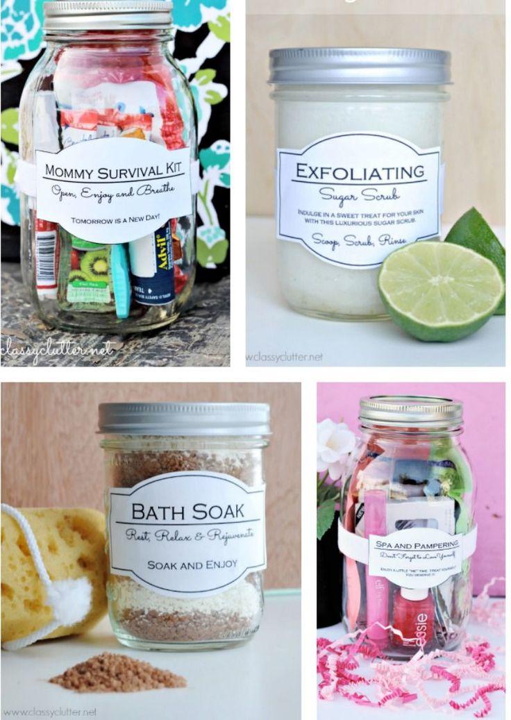 Great gift ideas in a jar | www.classyclutter.net Mommy survival kit in qt. mason jar.