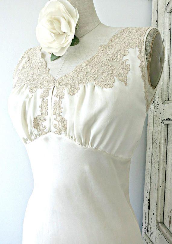 Vintage lingerie jaren 1930 ivoor zijde satijn charmeuse jurk