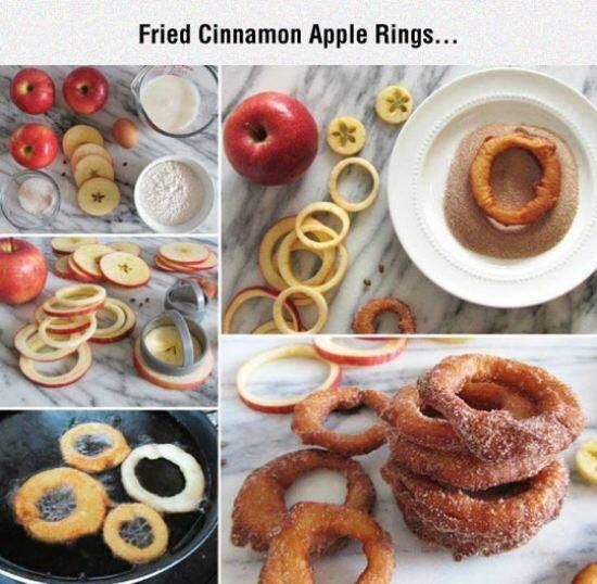 BATTER FRIED APPLE RINGS 1 c flour 1 1/2 tsp. baking powder 2 tbsp. sugar 1/2 tsp. salt 3/4 c. milk 1 egg 4 lg. apples Sugar and cinnmaon Sift dry ingredients. Add milk and egg, beating well. Peel and core apples. Slice into 1/4 inch rings. Dip rings in batter and fry in 1/2 inch hot shortening until golden brown. Drain on paper towels. Sprinkle with sugar and cinnamon mixture.