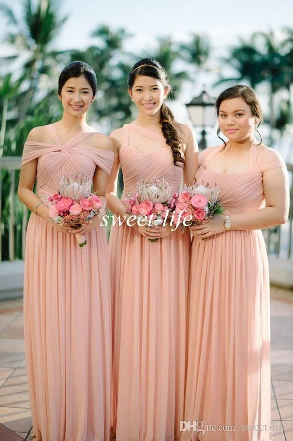 2017 Blush Mix And Matched Bridesmaid Dresses Plus Size A Line Floor Length Pleat Chiffon