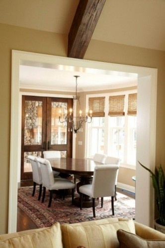 : Wall Colors, The Doors, Wood Blinds, Traditional Dining Rooms, Dark Stained, Window Blinds, French Doors, White Trim, Wood Doors