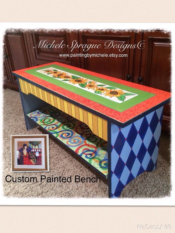 Whimsical Painted Furniture, Custom wood bench hand painted whimsical harlequin swirls sunflowers