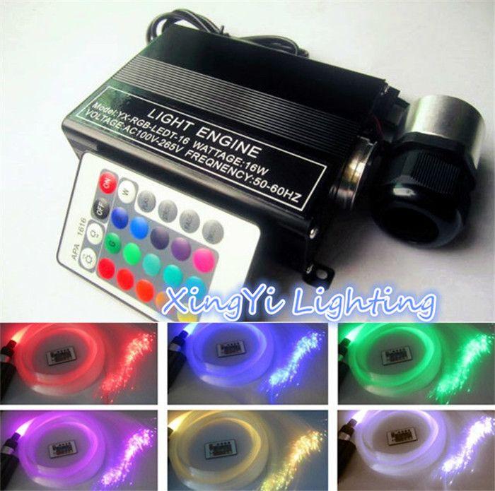 Sparkmate 16 w rgb 0.75mm * 150 unids * 2 m led de luz de fibra óptica kit del techo de la estrella óptica motor de iluminación + control remoto 24key