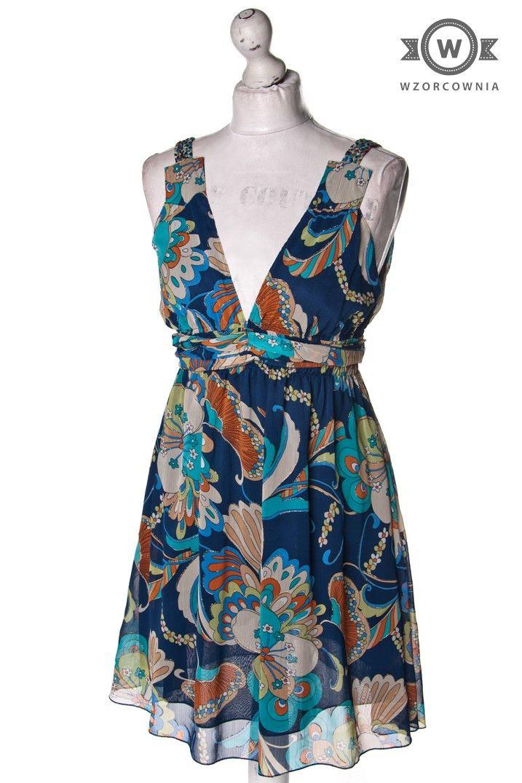 >> Jedwabna wzorzysta błyszcząca #sukienka #Wzorcownia online - Wzorcownia online | #TrafficPeople #dress