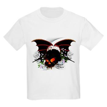 #Skull with #flowers and wings #T-Shirt