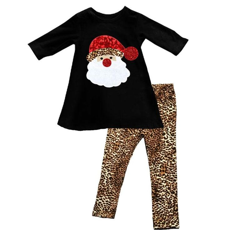 Santa Cheetah Outfit Red Sparkle Black Top And Pants