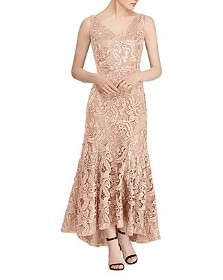 Shop For Lauren Ralph Lauren Fluted Lace Gown With Free Shipping