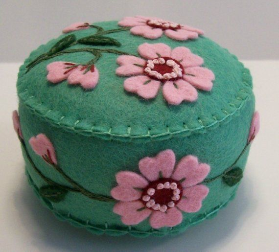 Vintage Flowers on Willow pincushion by TheDailyPincushion on Etsy