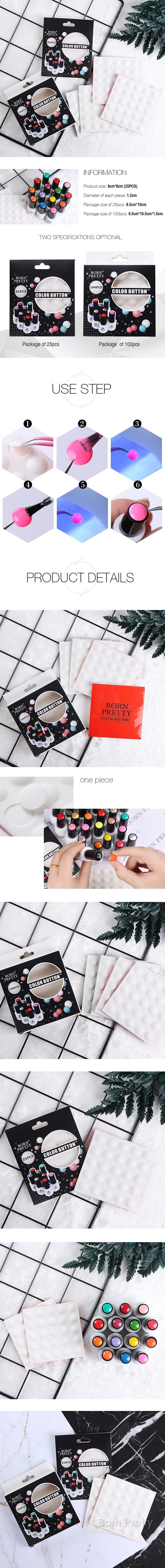 $1.99 10Pcs BORN PRETTY Color Button UV Gel Polish Color Display White Silicone Adhesive Paster - BornPrettyStore.com