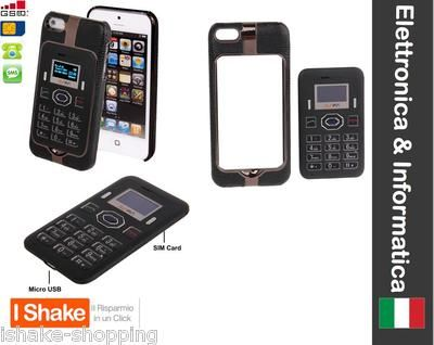 CUSTODIA COVER IPHONE 5 TELEFONO INTEGRATO GSM BLUETOOTH SMS DUAL SIM