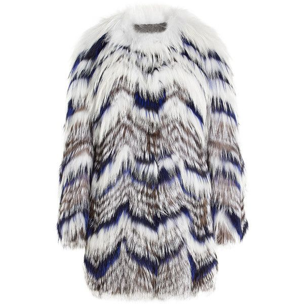 Yves Salomon Fur Coat ($3,410) ❤ liked on Polyvore featuring outerwear, coats, multicolored, multi colored fur coat, shrug cardigan, cardigan shrug, colorful coat and white shrug