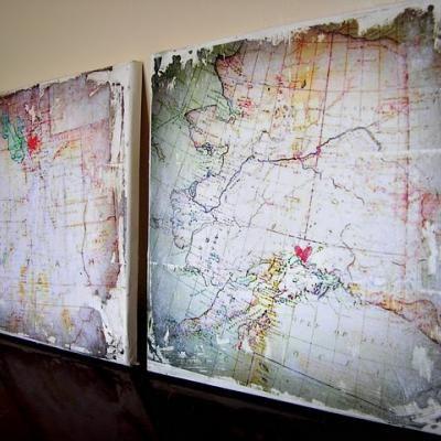OK and INWall Art, Canvas Ideas, Maps Canvas, Distressed Maps, Diy Art, Canvas Art, Diy Canvas, Old Maps, Maps Art