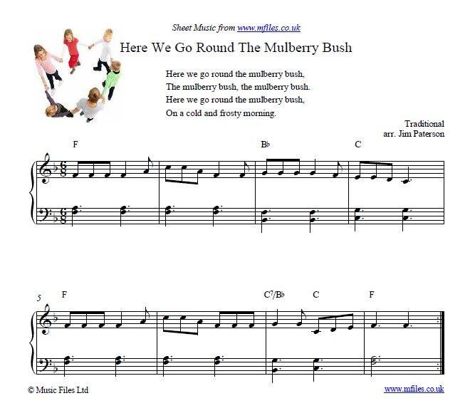 Here We Go Round The Mulberry Bush Nursery Rhyme Piano Musicsheet
