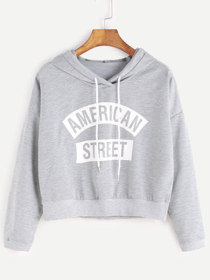 Sweat-shirt à capuche imprimé lettre court -gris -French SheIn(Sheinside) http://amzn.to/2qVpaTc