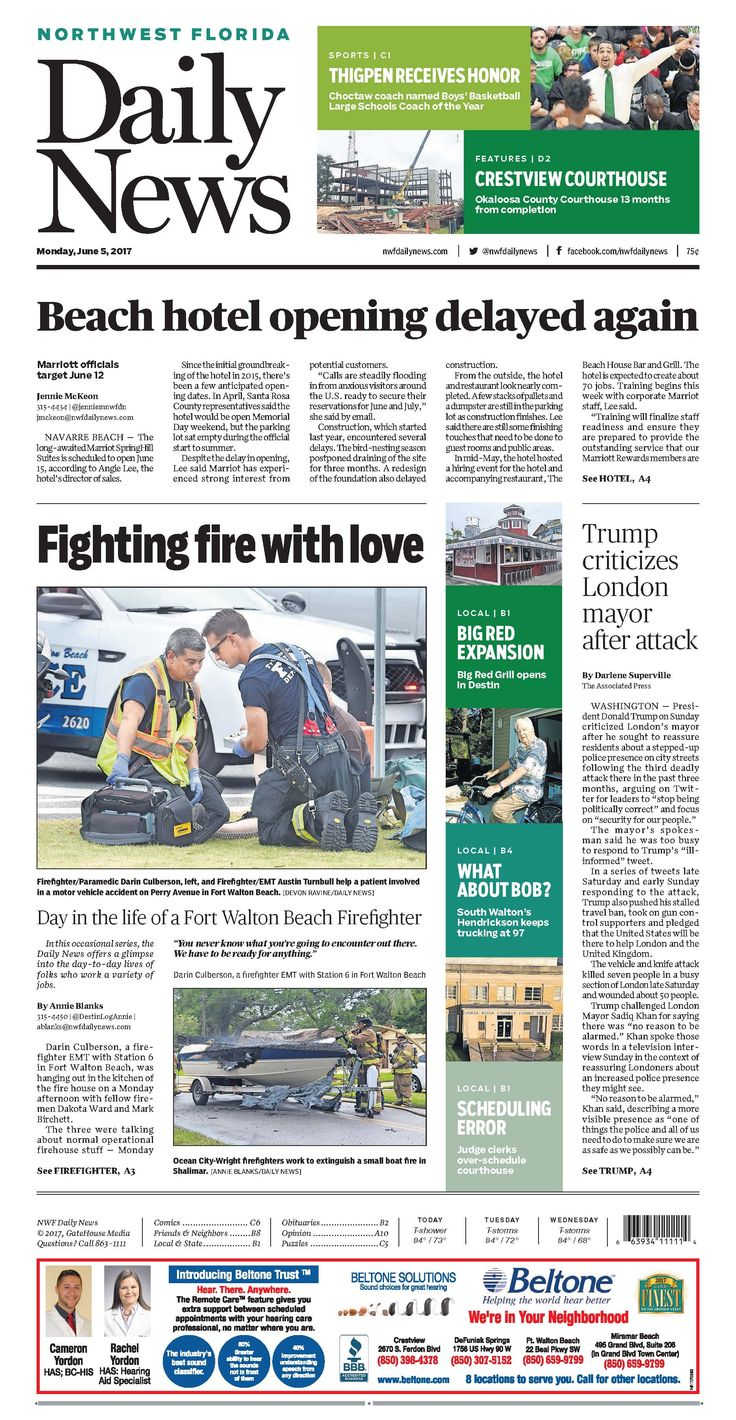 The June 5, 2017, front page of the Northwest Florida Daily News: Day in the life of a Fort Walton Beach firefighter
