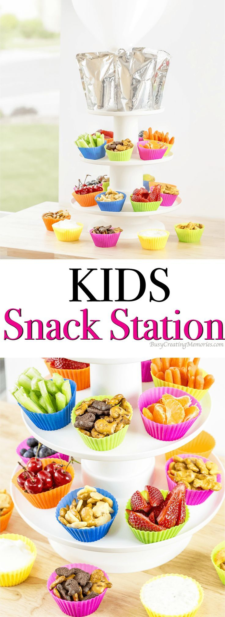 DIY Kids Snack Station Tutorial for happy kids all summer!  This easy Kids Snack Station let's them have snacks for a full day right at their fingertips. Full of their favorite kids food, finger foods and kid friendly snacks. - Goldfish Crowd AD