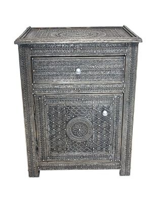 Badia Design Moroccan Filigree Wooden Nightstand, Silver
