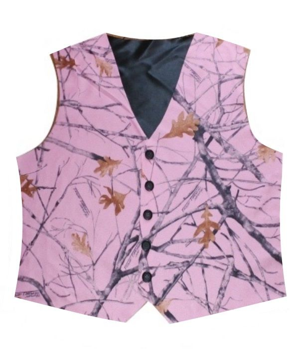 This men's pink snowfall camo vest is just what you need for any country wedding, or camo wedding.  Only $59.95.  Made from True Timber satin camo with your choice of lining and back color.  Comes in a variety of sizes, other colors of camo also available.