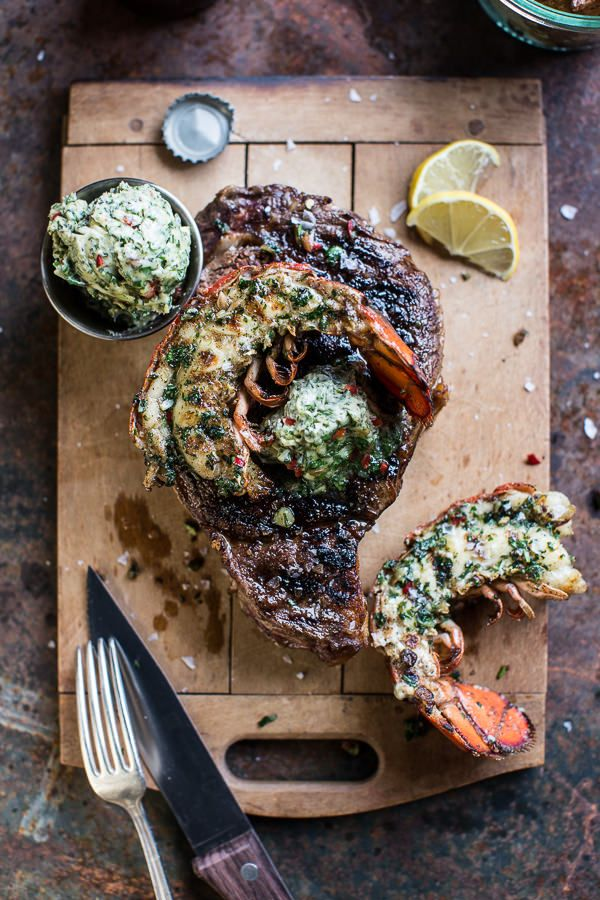 Surf and Turf- Steak and Lobster with Spicy Roasted Garlic Chimichurri Butter   halfbakedharvest.com @hbharvest