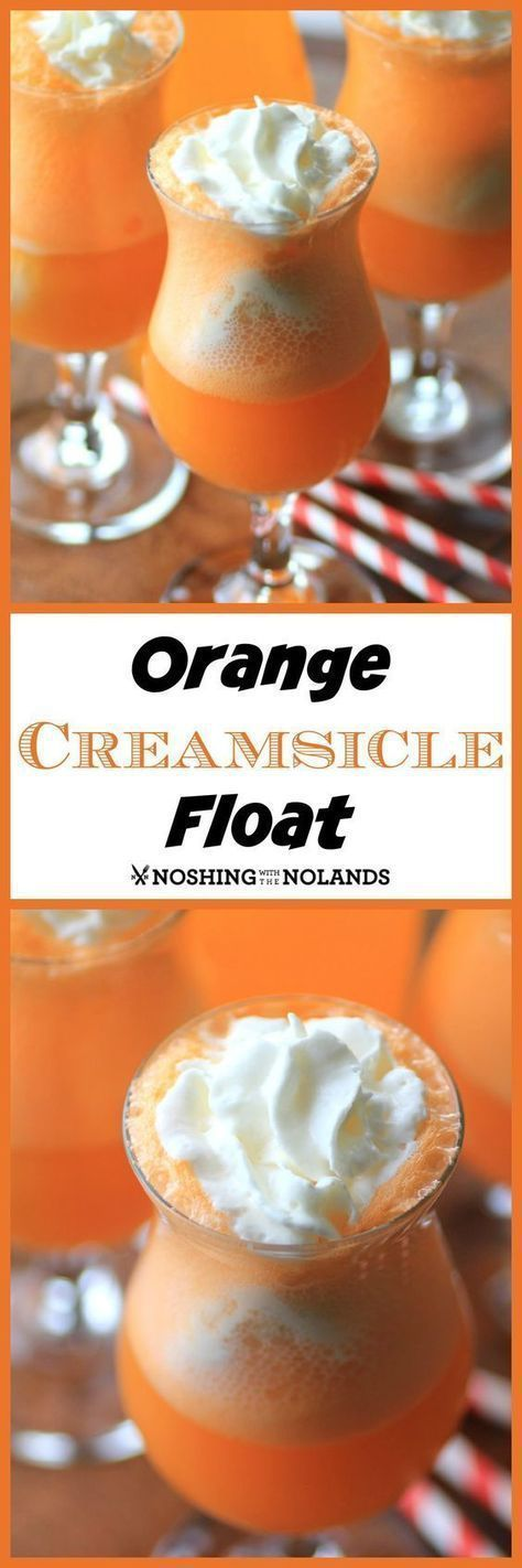 Orange Creamsicle Floats Recipe via Noshing with the Nolands - A cool, non-alcoholic drink that will cool you down. Made with vanilla ice cream and orange soda. SO delicious! The BEST Easy Non-Alcoholic Drinks Recipes - Creative Mocktails and Family Friendly, Alcohol-Free, Big Batch Party Beverages for a Crowd! #foodanddrinkdesserts