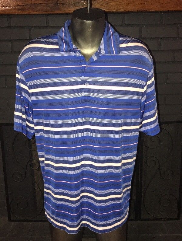Nike Golf Dri Fit Polo Shirt Blue Striped Men's Size Medium #Nike #Polo