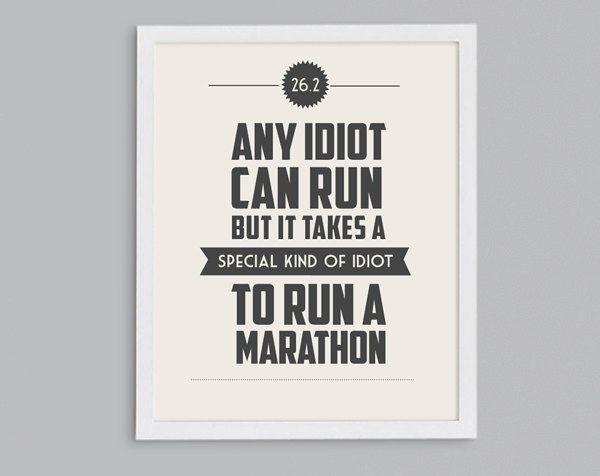 11x14 It Takes a Special Kind of Idiot to Run a Marathon Retro Print -  Typographic