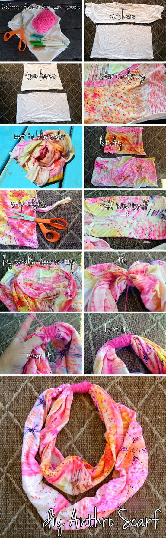 I must try this with my youth group...DIY Anthropologie Scarf. Awesome idea for those old shirts, but I'll do my colors different... Or use the colored shirts
