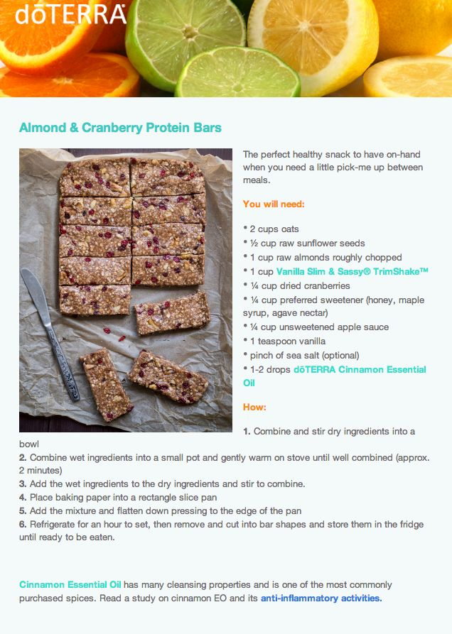 Almond & Cranberry Protein Bars made with #EssentialOils and TrimShake - yummmm!