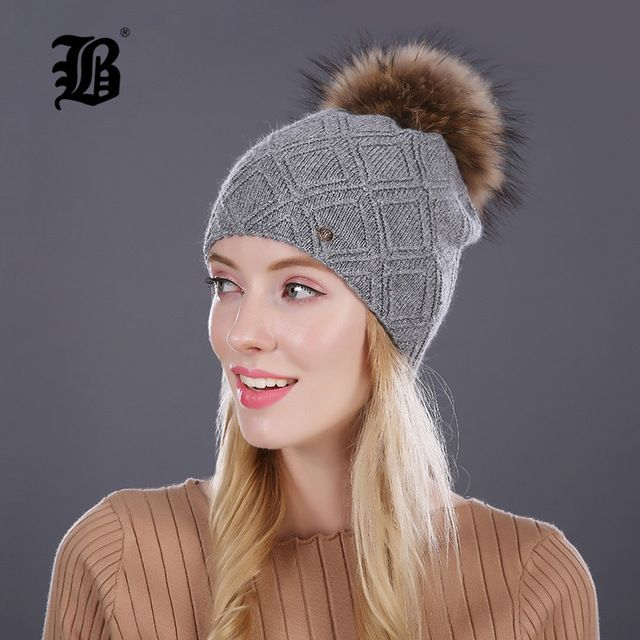 Top Offers $12.95, Buy [FLB] Winter fur Beanies cap pompom hat for women cashmere wool cotton hat Big Real Raccoon fur pom poms Mink fur winter hat
