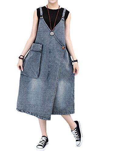 fed1a881 Mallimoda Women's Ajustable Strap A line Baggy Jumpsuit Dress Blue L ...