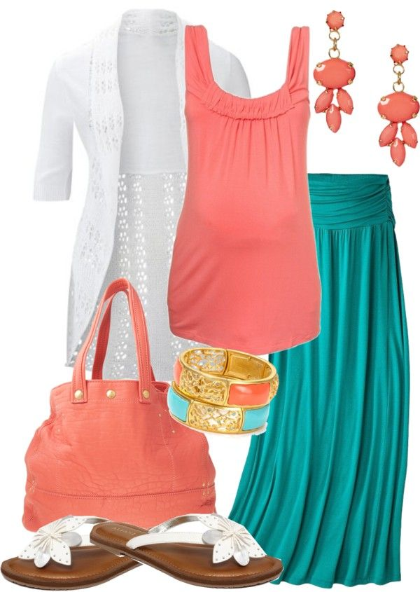 "So Cute!  One day I'll wear cute maternity clothes! :) ""mom-to-be in summer colors"" by meganpearl on Polyvore"