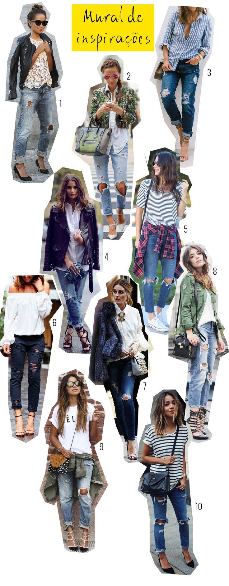 Looks com calça jeans rasgada, jeans rasgado, inspiração para muitos estilos. - OOTD with ripped denim pants, inspiration for many styles.  #blogdemoda
