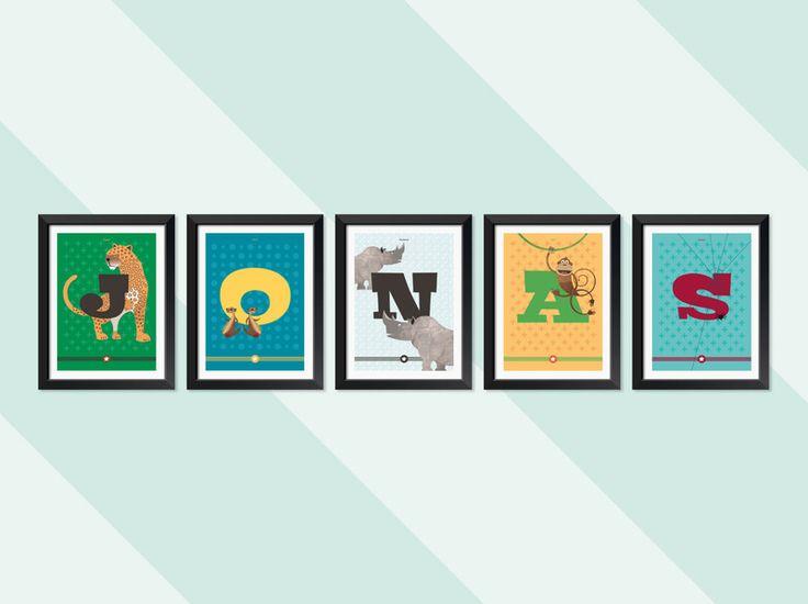 Wandgestaltung - Kinderzimmer-ABC (5 Buchstaben) - ein Designerstück von Pia-Kolle bei DaWanda