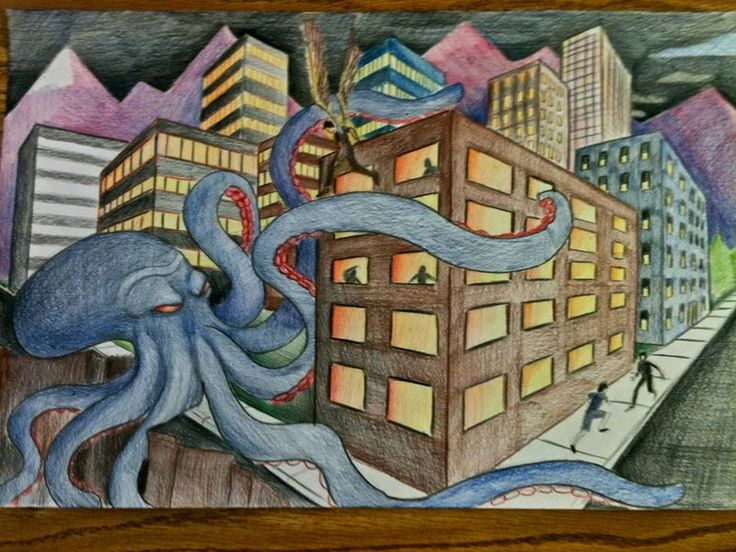 perspective cityscapes. love the idea of linking to something silly like godzilla, giant sea creatures, etc.