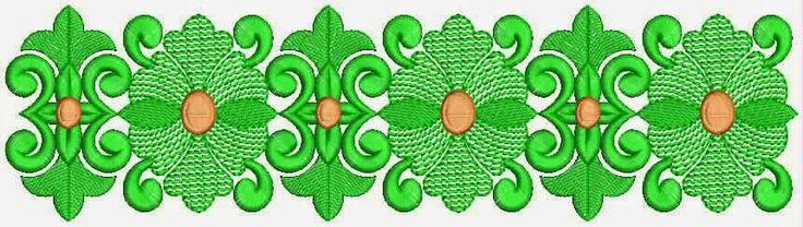groen kleur Victoriaanse borduurwerk kant grens
