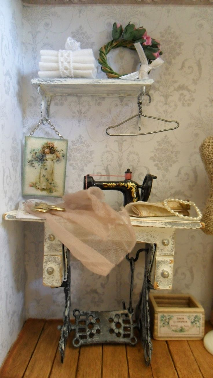 Sewing machine in dollhouse box