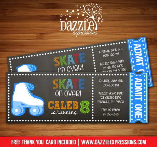 Printable Chalkboard Boy Roller Skating Ticket Birthday Invitation | Roller Blades | Skate Park | Digital File | Boys Birthday Party Idea | Rollerskating | Skate | FREE thank you card | Party Package Available |  Banner | Cupcake Toppers | Favor Tag | Food and Drink Labels | Signs |  Candy Bar Wrapper | www.dazzleexpressions.com