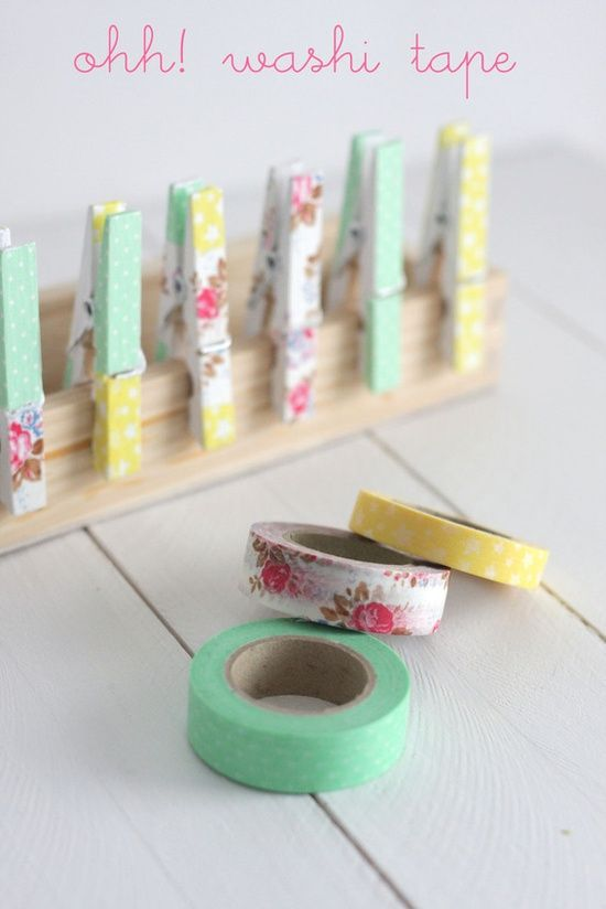 Decorated clothespins—Washi tape flag/pennant garland❣ Oh My Wedding