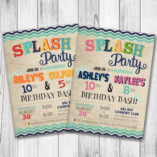 Splash Party Invitation – Summer Splash Party Invitation – Girl Pool Party Birthday Invite – Boy Splash Party Birthday – Summer Party Invite – Double Sided –