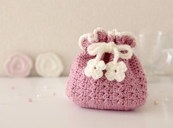 62.かぎ針編み 小物入れ巾着(ピンク…|ハンドメイド作品の購入・販売 iichi
