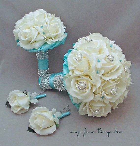 Bridal Bouquet Stephanotis Roses Tiffany Blue Ribbon Bridesmaid Bouquet Groom's Groomsmen Boutonniere Real Touch Bouquet Aqua Tiffany Blue