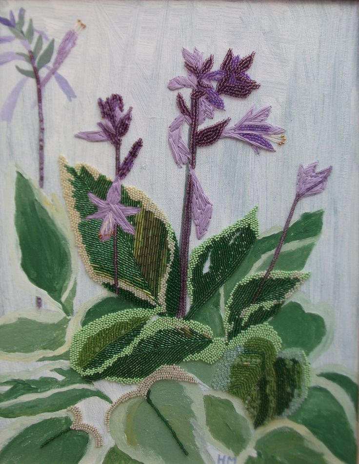Hosta painting - lilac flowers - lilac decor - new home gift - new home art - hosta flowers - botanical wall art - spring flower decor by HayleyMallett on Etsy