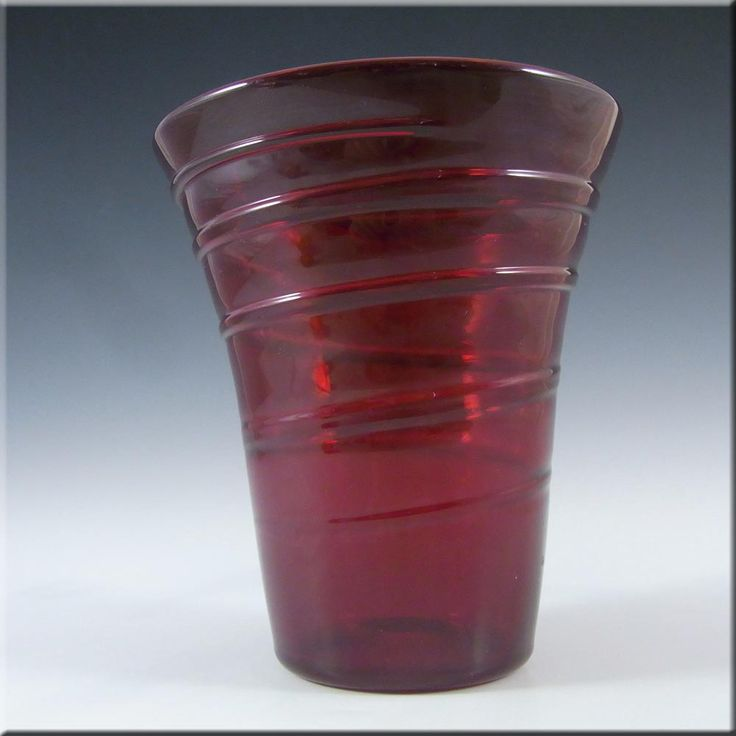 Whitefriars/Powell Ruby Red Glass Ribbon Trail Vase #8886 #1 - £30.00